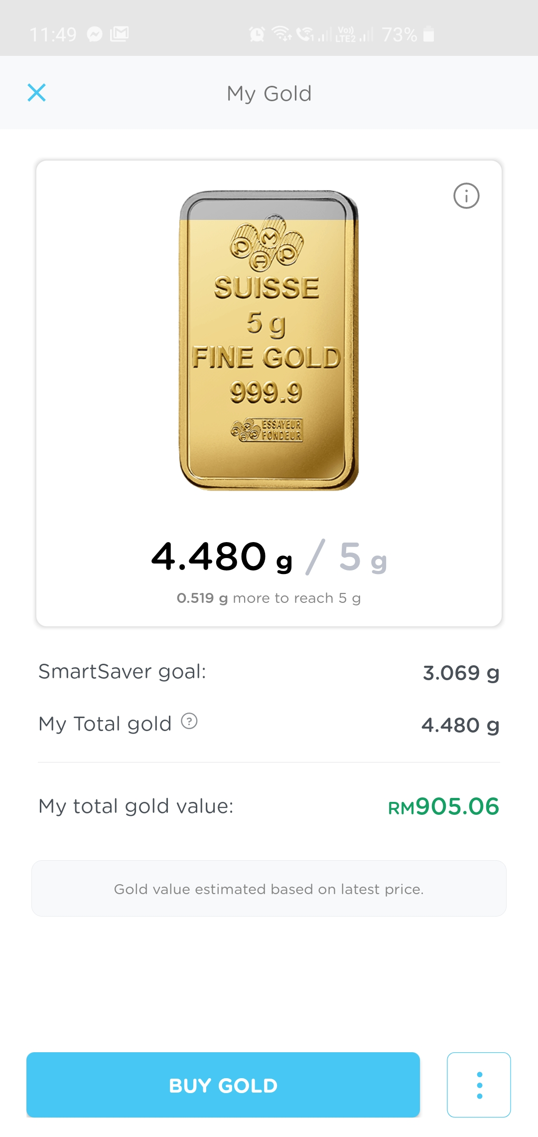 HelloGold app Screenshot